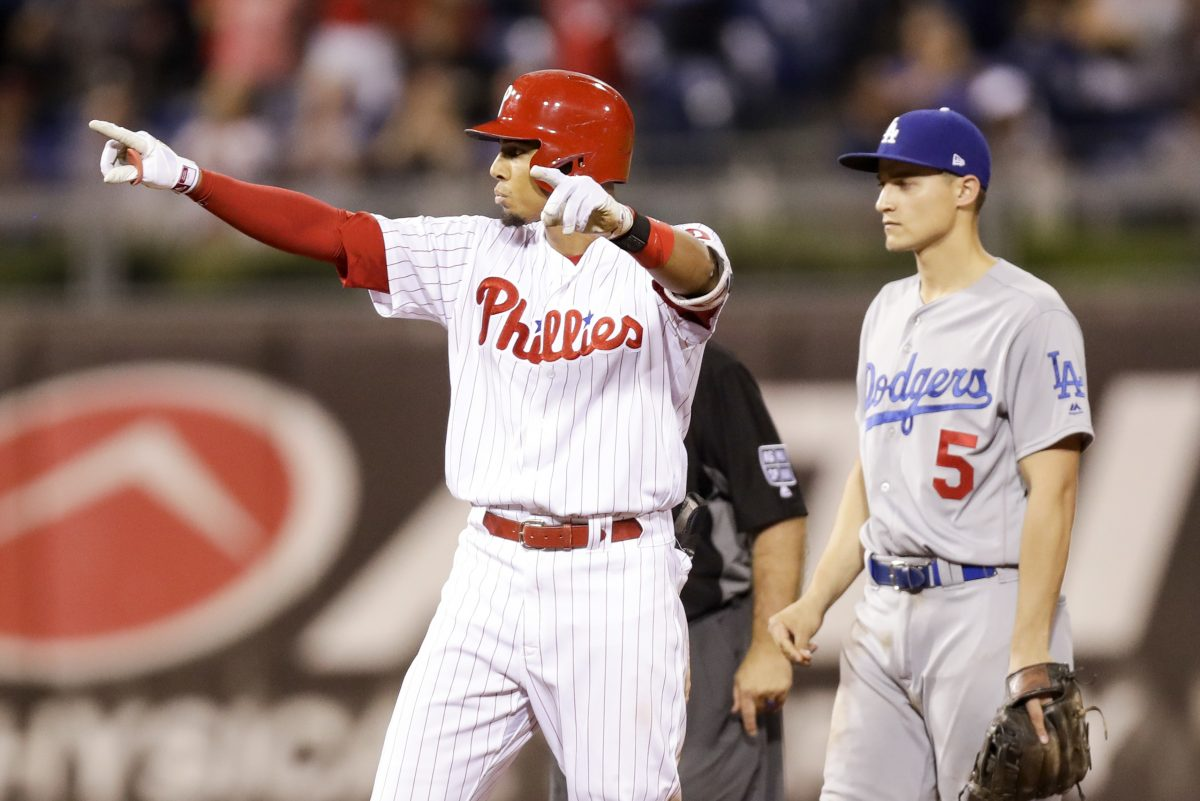 Phillies Aaron Altherr points after hitting a two-run double during the eighth inning against Los Angeles Dodgers.