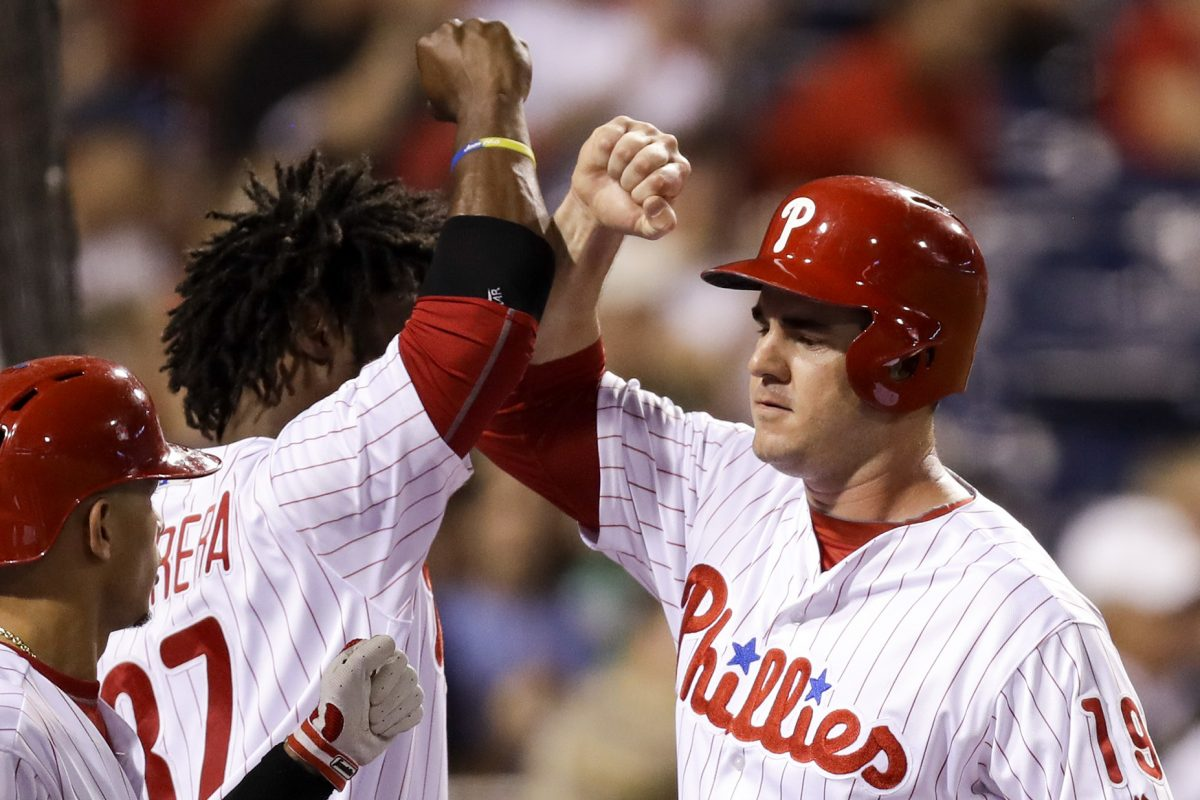 Phillies first baseman Tommy Joseph celebrates his second-inning run Wednesday with teammate Odubel Herrera against the Los Angeles Dodgers.