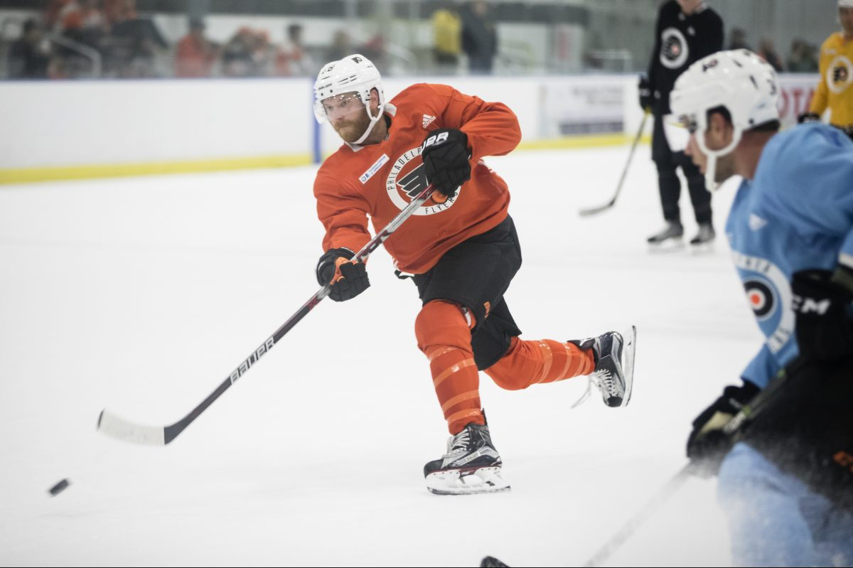 The Flyers experimented with Claude Giroux at left wing in Tuesday's practice, but he will be at center Thursday in Boston.