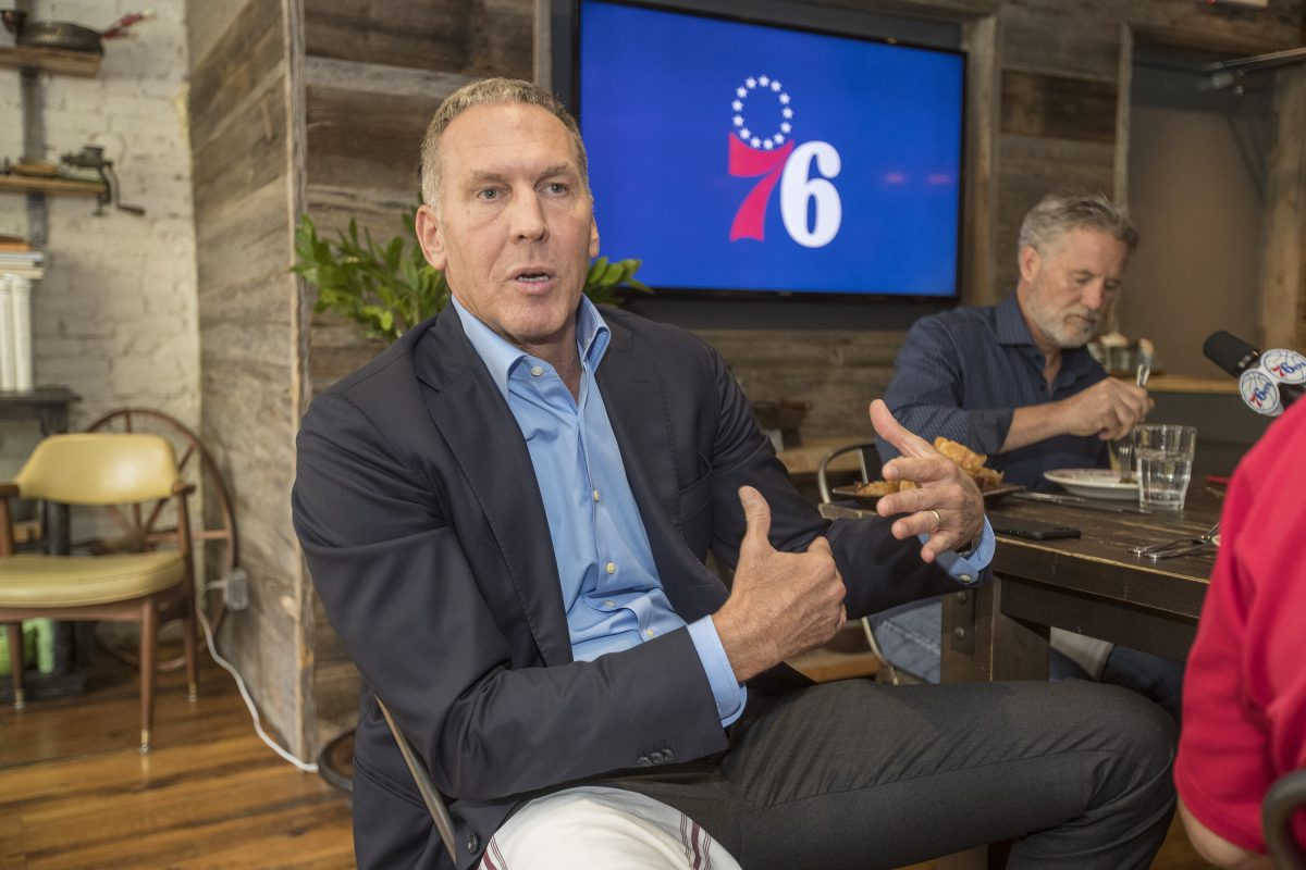 Bryan Colangelo answers a reporter's question during the 76ers' media lunch on Wednesday.