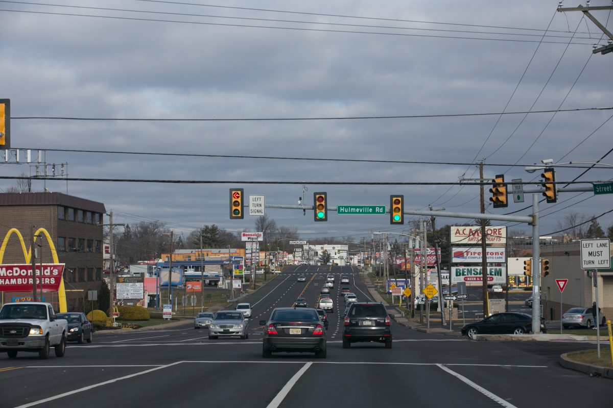 The 1900 stretch of Street Road in at the intersection of Hulmeville Rd, in Bensalem.