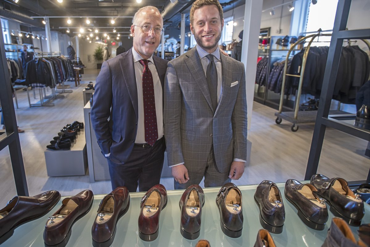 Boyds' new owner Kent Gushner, left, and his son Alex Gushner, right, in the new men's casual area of Boyds that's now situated on the fourth floor but will be moving to the second floor as part of a $10 million makeover.