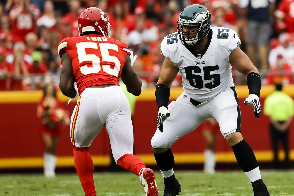 Eagles offensive tackle Lane Johnson, keeping an eye on Chiefs linebacker Dee Ford says the offensive line might be more cohesive if it was permitted to practice in pads in th
