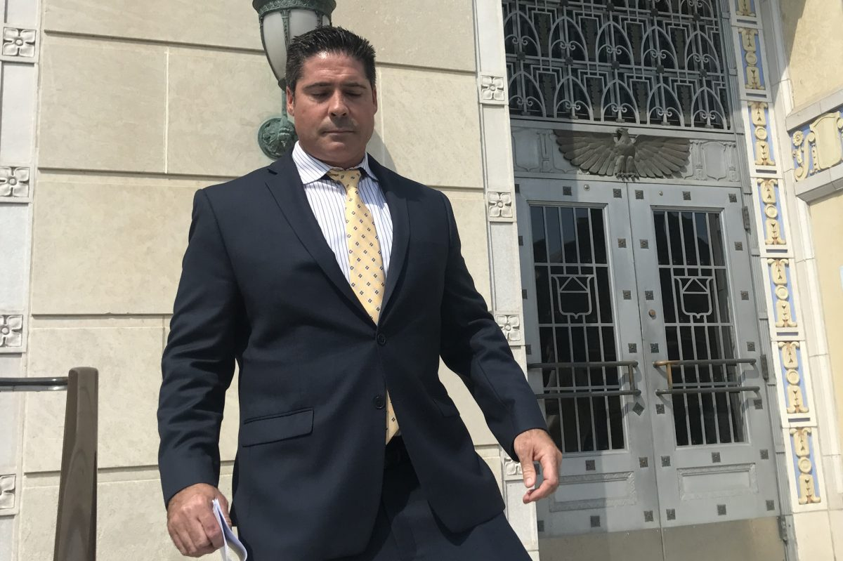 The alleged leader of a $25 million prescription-drug fraud, Matthew Tedesco, 42, of Linwood, N.J.,  leaves the federal courthouse in Camden after pleading guilty Aug. 17, 2017.