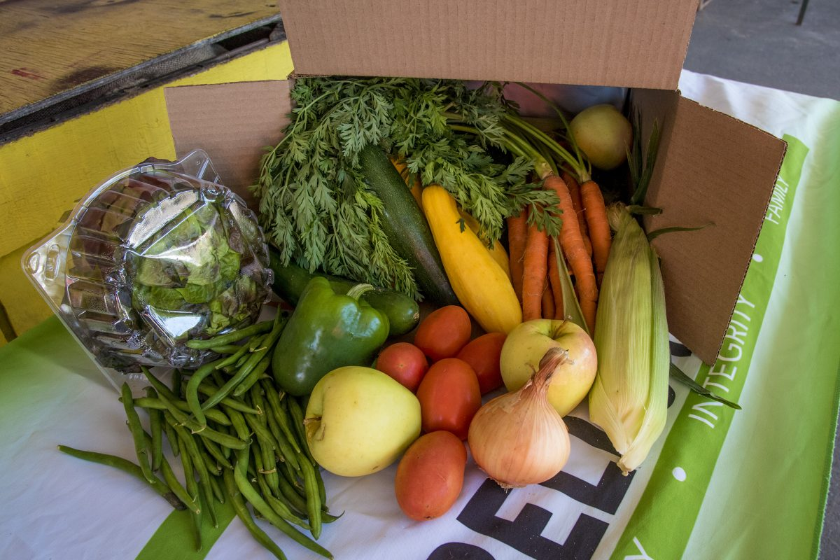 A box of Sorbello Farms fruits and vegetables is readied to be delivered to a member Sept. 21, 2017.