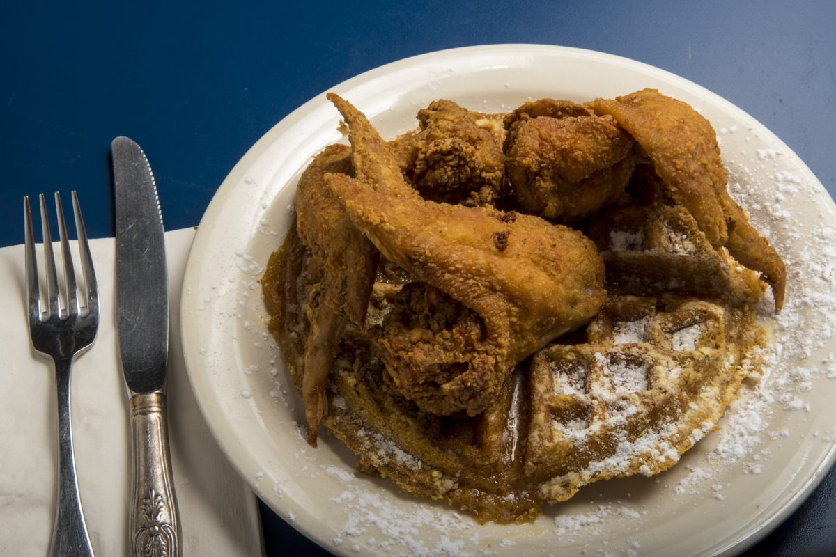 The chicken and waffles from Aprons at 2617 Grays Ferry Ave.