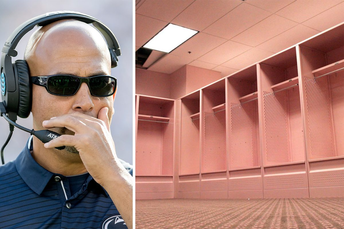 Penn State coach James Franklin has told his team about Iowa's pink visitors locker room (shown in a 2005 file photo). AP