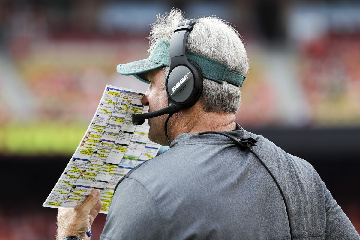 Eagles coach Doug Pederson will have to once again try to get the running game going when the Eagles take on the Giants Sunday.
