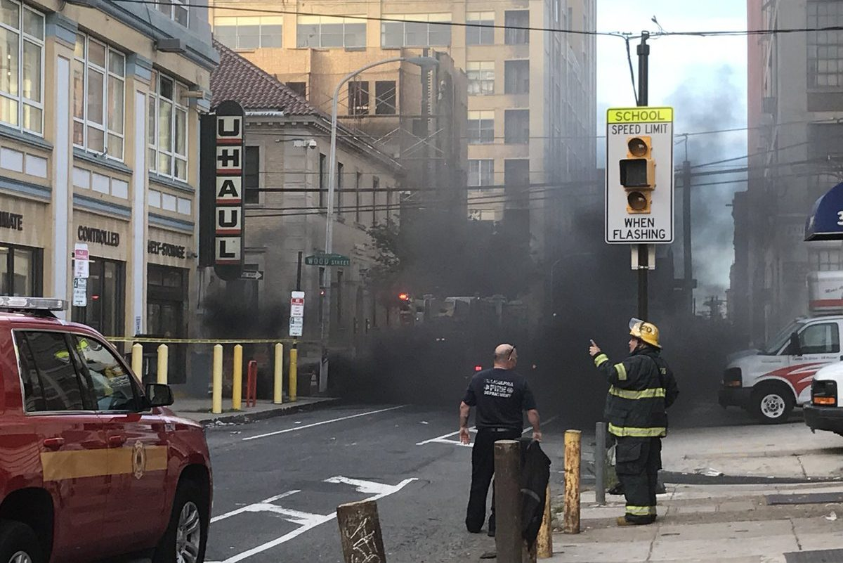 An underground fire at 13th and Wood Streets led to a power outage, street closures, and the evacuation of a nearby homeless shelter.