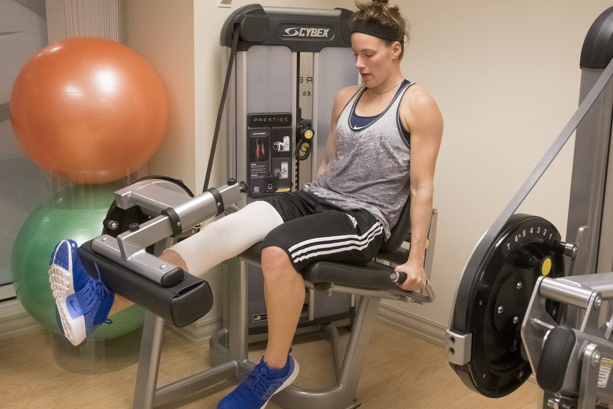 Maggie Lucas at a rehab session.