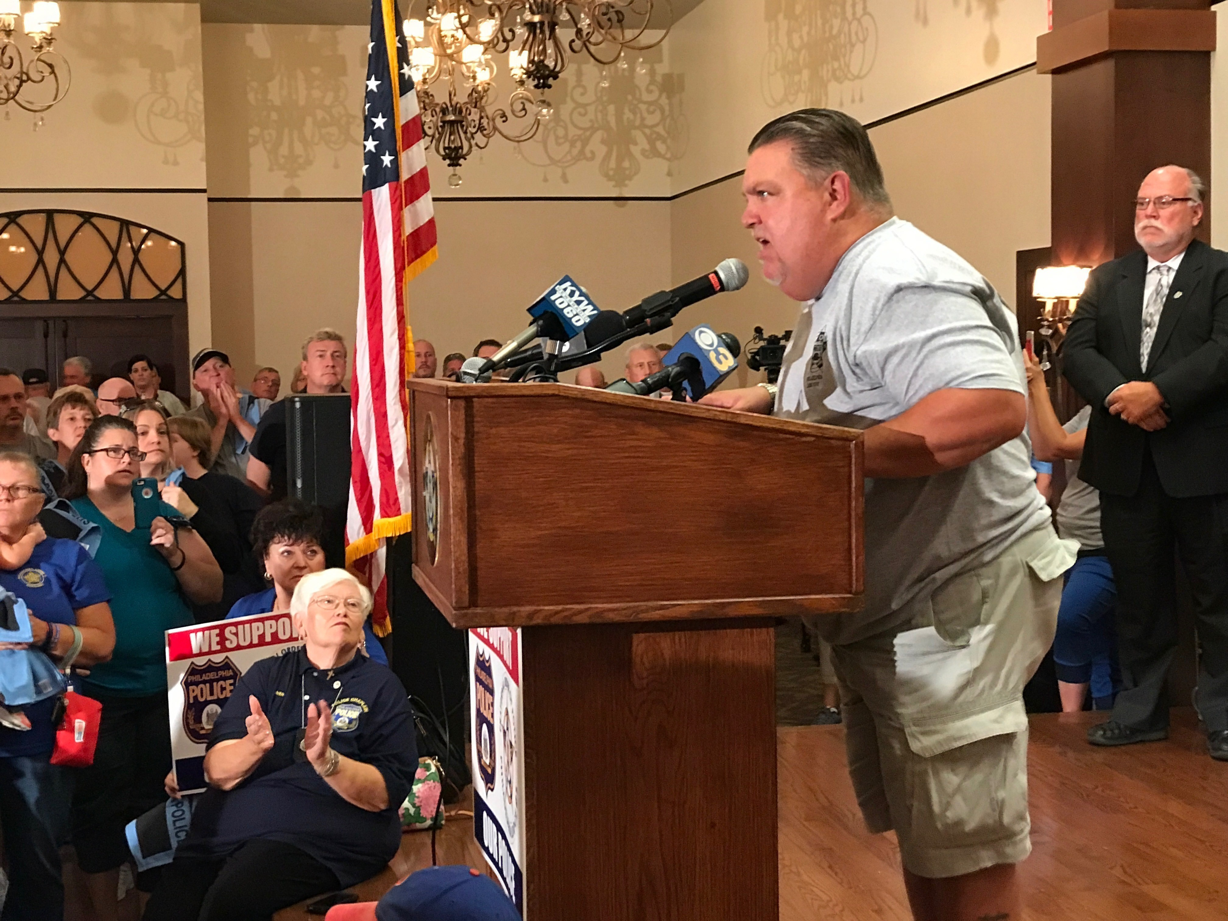 John McNesby, president of FOP Lodge 5, addresses a rally in support of police officers at the union´s headquarters in Northeast Philadelphia on Aug. 31, 2017.