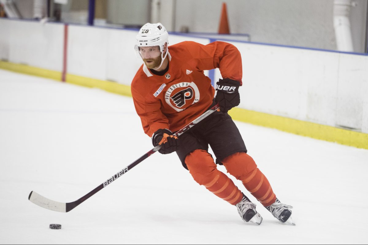 In the Philadelphia Flyers' last two practice sessions, Giroux has played left wing on a line with center Sean Couturier and right winger Jake Voracek.