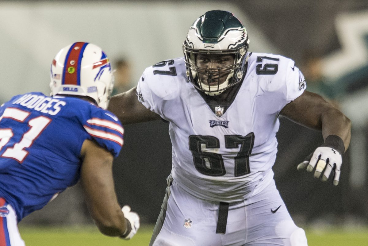 Eagles guard Chance Warmack prepares to make a block in the game against the Bills at Lincoln Financial Field August 17, 2017. CLEM MURRAY / Staff Photographer