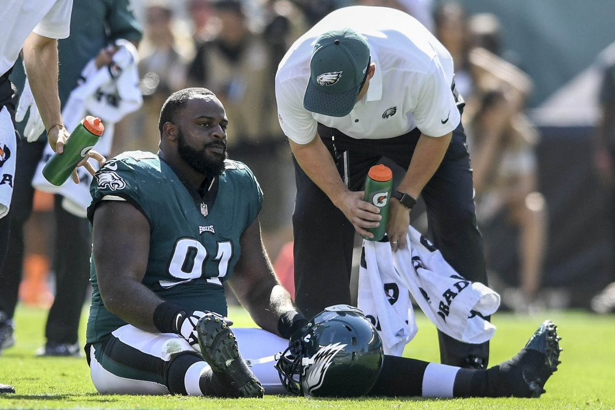 Eagles star defensive tackle Fletcher Cox was taken out of the game with a calf injury, one of the many injuries the defense had to endure.