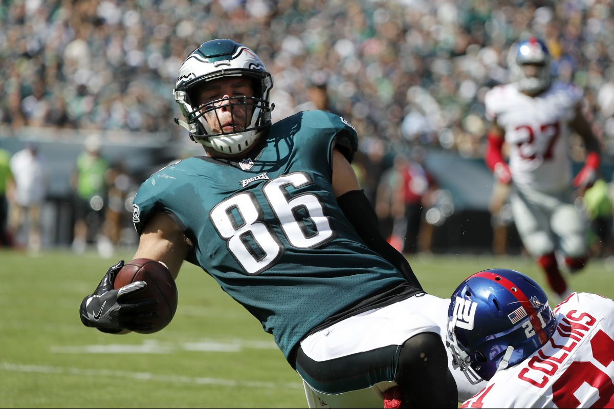 Eagles' tight end Zach Ertz was targeted eight times on Sunday.