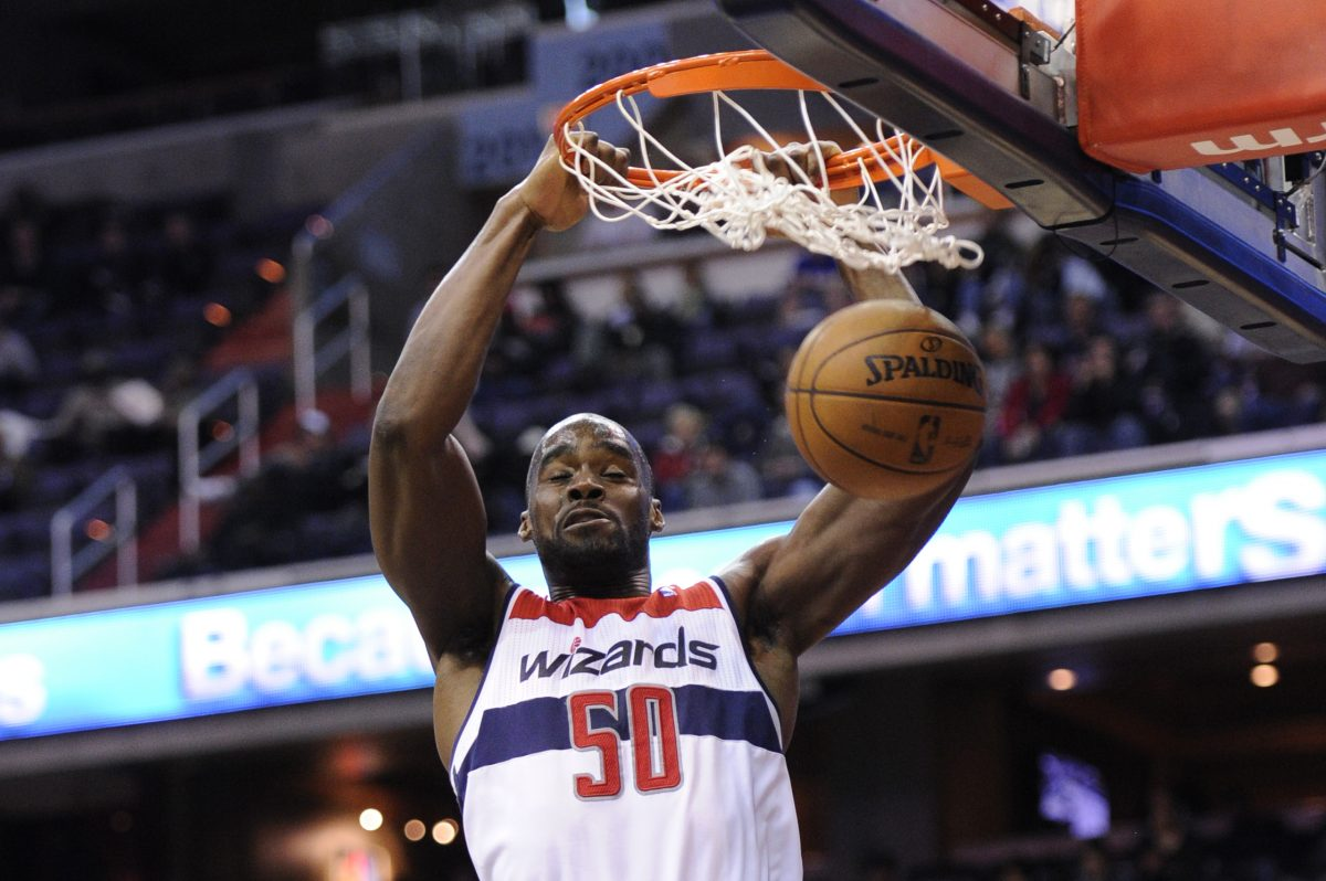 Washington Wizards center Emeka Okafor (50) dunks during a March 2013 game.