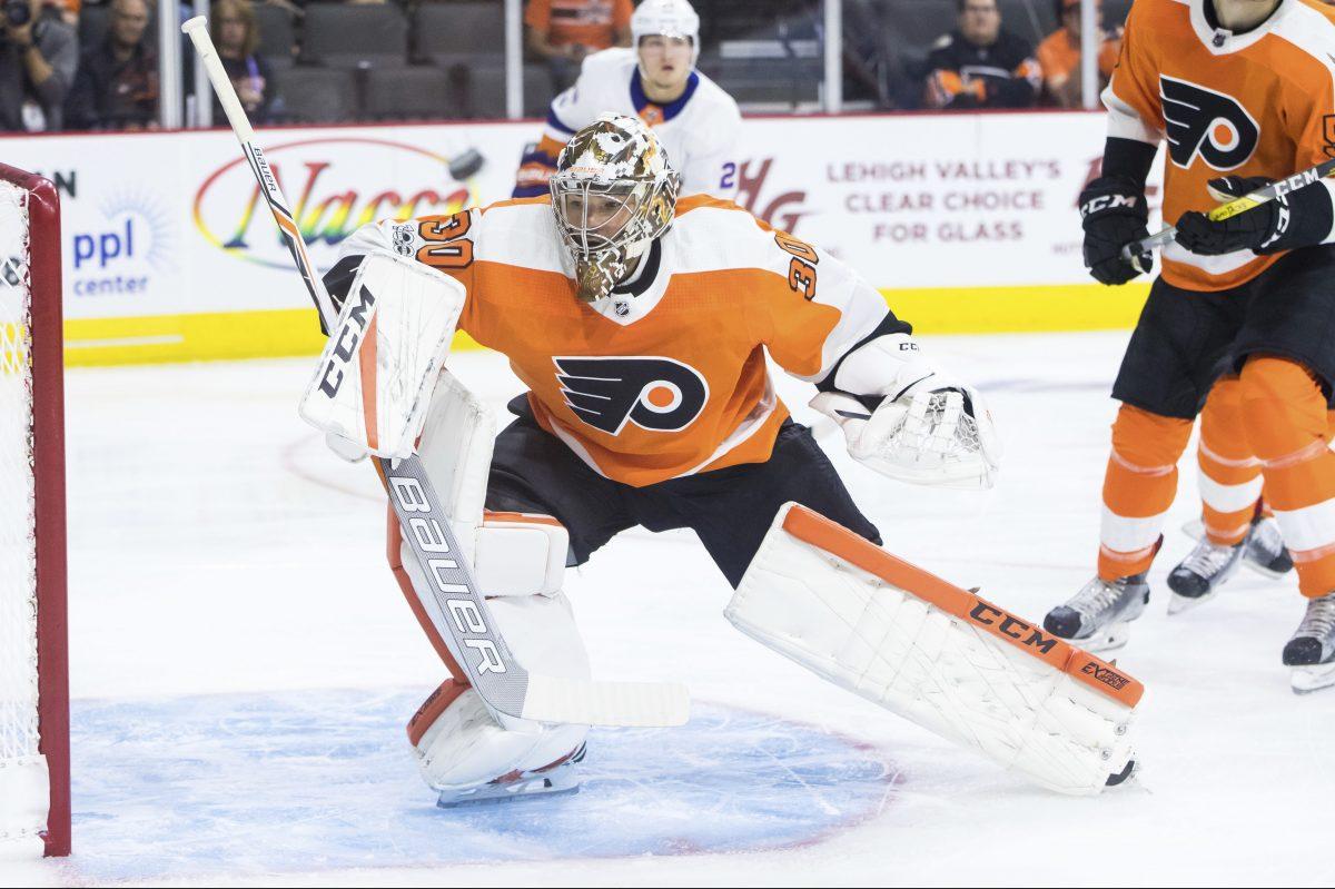Flyers goalie Michal Neuvirth in action in a preseason game against the Islanders last week.