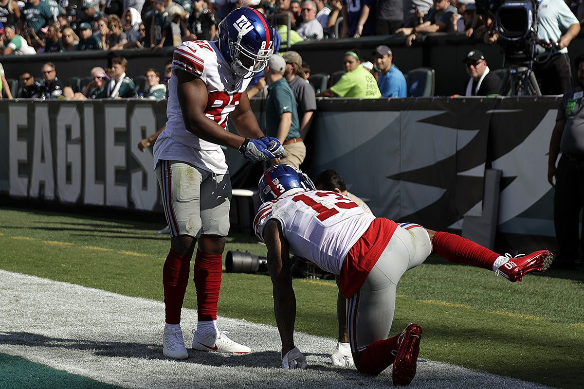 New York Giants' Odell Beckham, right, celebrates with Sterling Shepard after a touchdown during the second half of an NFL football game against the Philadelphia Eagles, Sunday, Sept. 24, 2017, in Philadelphia.