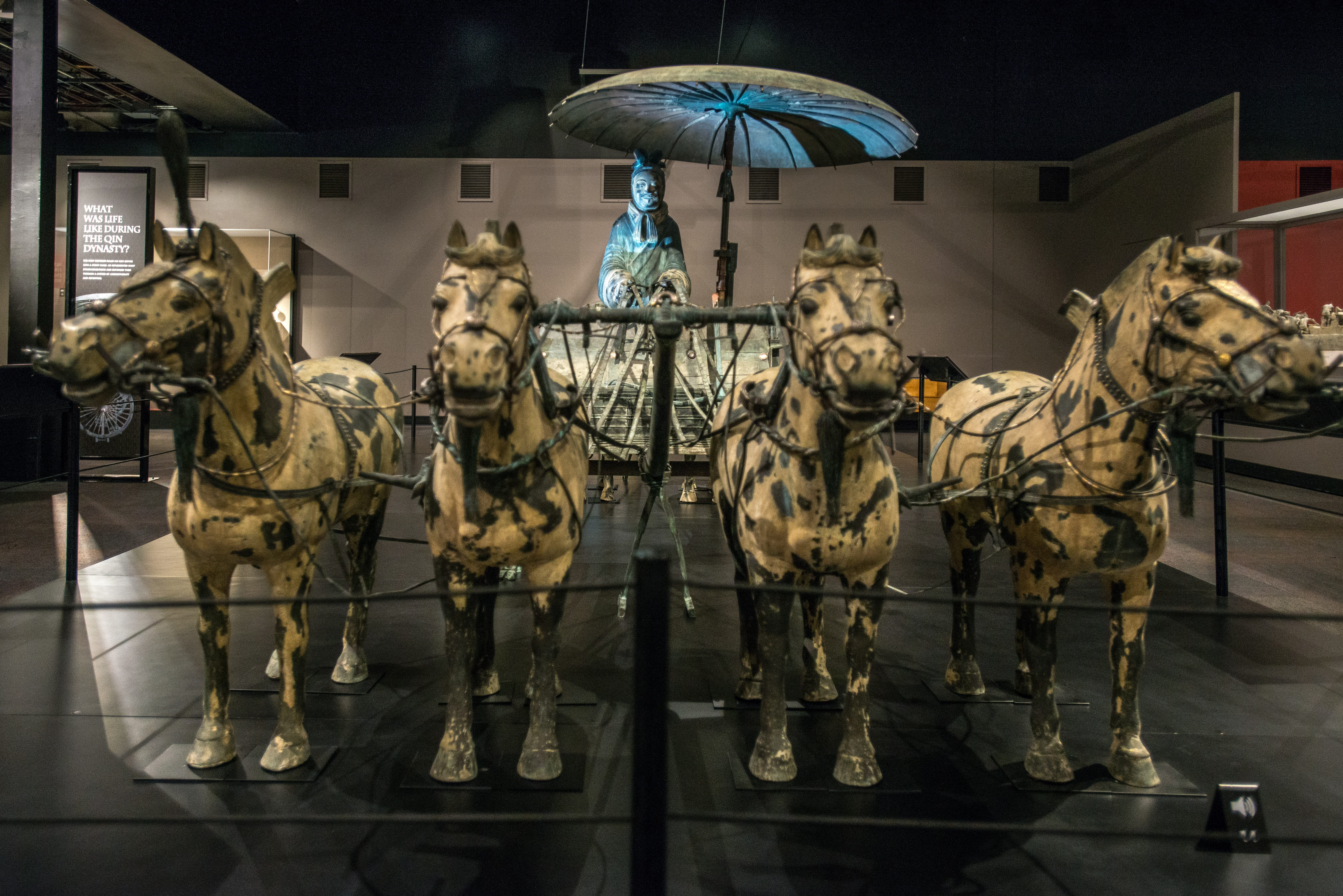 A replica of an elaborate bronze statue showing the emperor's chariot. It was one of the thousands of artworks, decorative items and everyday objects buried in the compound.