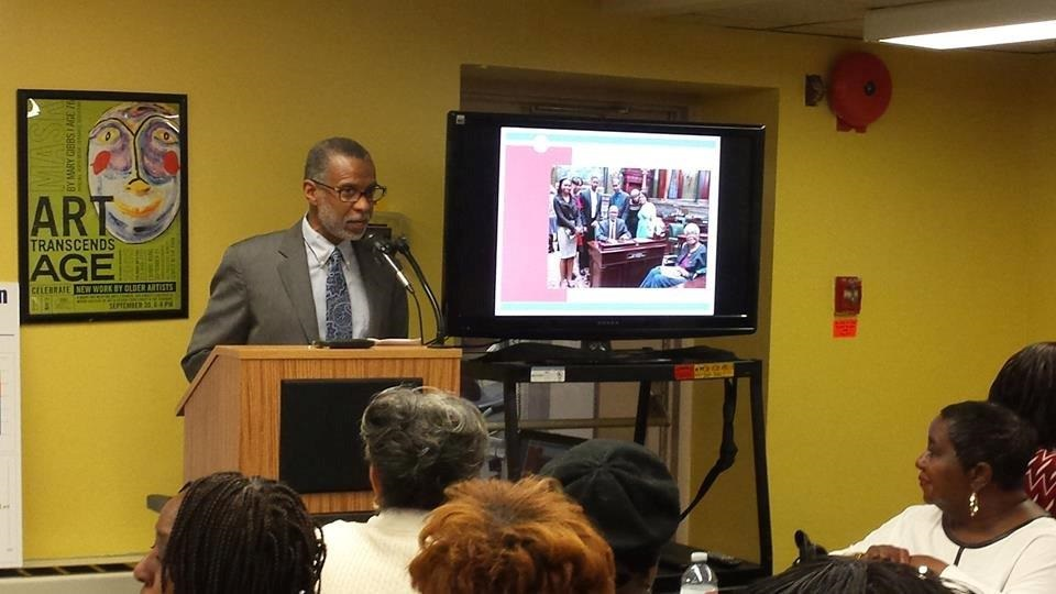 State Senator Art Haywood addresses a Center in the Park workshop in Germantown in 2015 (Credit: Center in the Park).