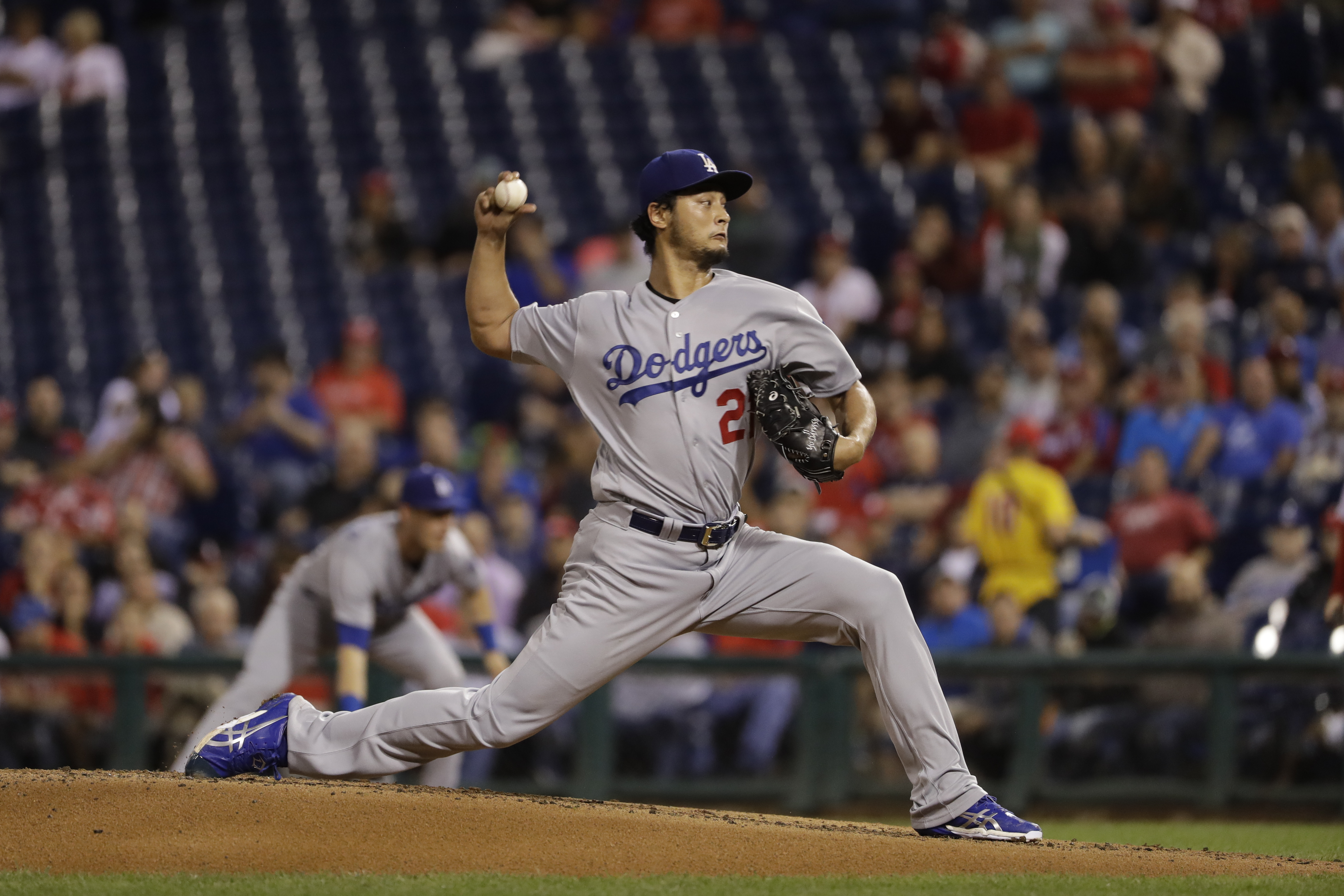 Los Angeles Dodgers pitcher Yu Darvish is one of three free-agent pitchers the Phillies should target this offseason. The others are St. Louis´ Lance Lynn and Jake Arrieta of the Chicago Cubs. (AP Photo/Matt Slocum)
