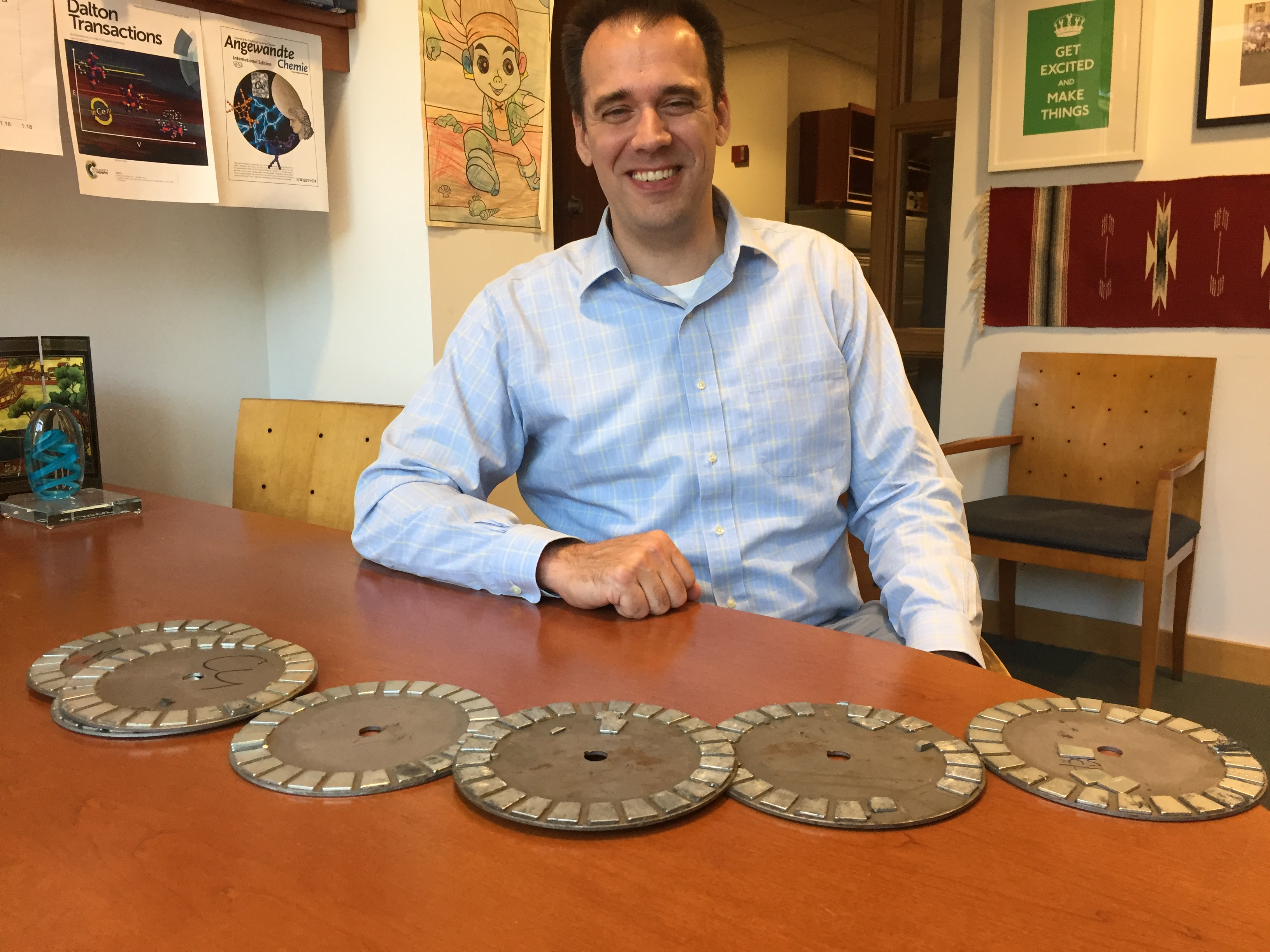 """Eric Schelter, a University of Pennsylvania associate professor of chemistry, wants to recycle """"rare earth"""" metals found in smartphones, TVs, and these old wind-turbine rotor plates."""