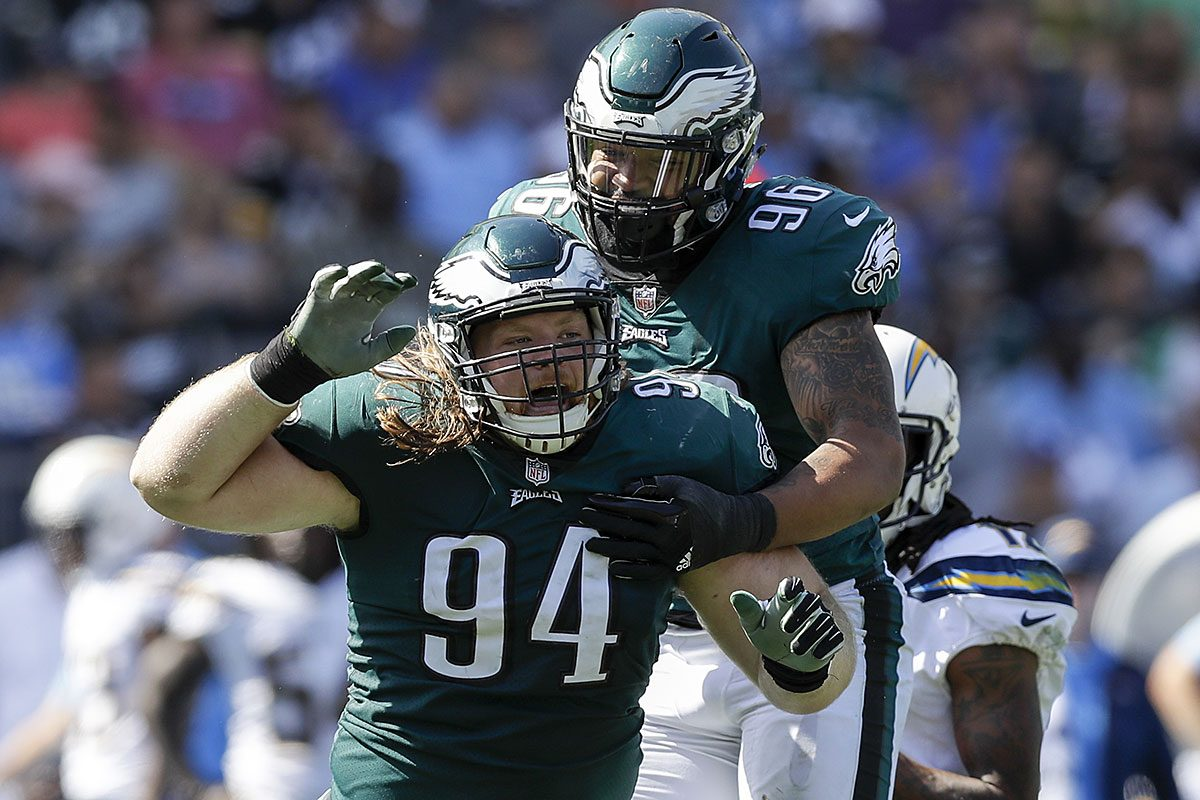 Eagles defensive tackle Beau Allen celebrates a sack with teammate Derek Barnett against the Los Angeles Chargers.