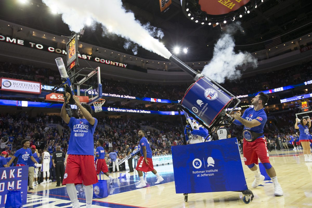 With lots of enthusiasm for the upcoming season, the job of marketing the Sixers has become eaasier. The Sixers Dunk Squad fires T-shirts into the crowd during a preseason game against the Memphis Grizzlies on Oct. 4, 2017. CHARLES FOX / Staff Photographer