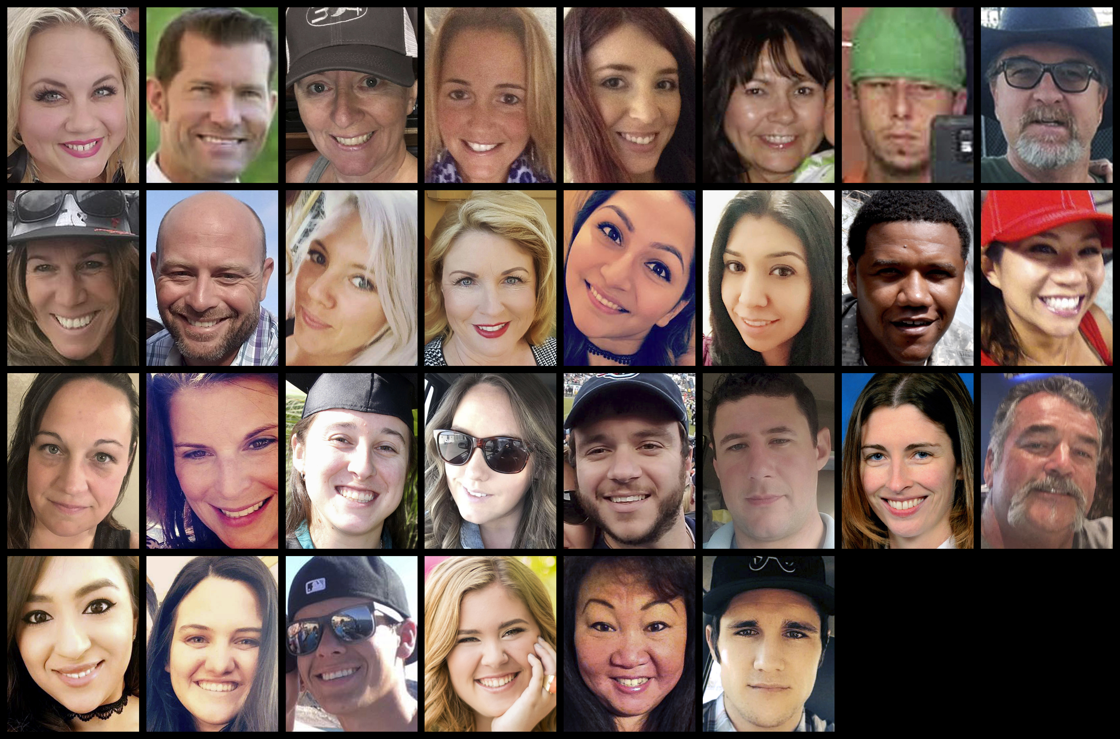 This photo combination shows some of the victims of the mass shooting that occurred at a country music festival in Las Vegas on Sunday, Oct. 1, 2017. Top row from left are: Heather Warino Alvarado, Steven Berger, Denise Burditus, Sandy Casey, Andrea Castilla, Denise Cohen, Austin Davis and Tom Day Jr. Second row from left are: Stacee Etcheber, Brian Fraser, Keri Lynn Galvan, Dana Gardner, Angie Gomez, Rocio Guillen, Charleston Hartfield and Nicol Kimura. Third row from left are: Jessica Klymchuk, Rhonda LeRocque, Kelsey Meadows, Calla Medig, Sonny Melton, Adrian Murfitt, Rachael Parker and John Phippen. Bottom row from left are: Melissa Ramirez, Jordyn Rivera, Quinton Robbins, Bailey Schweitzer, Laura Shipp and Brennan Stewart. (AP Photo)