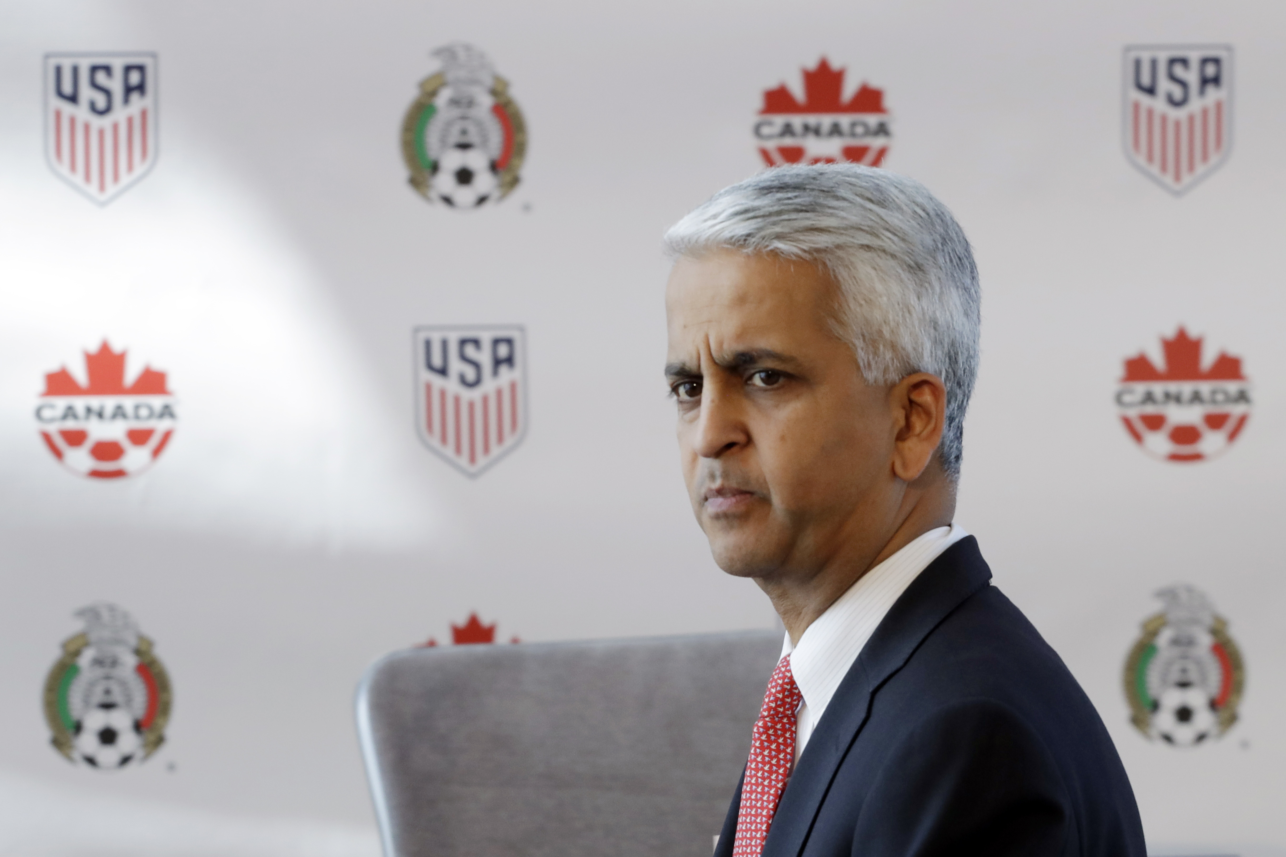 Sunil Gulati, President of the United States Soccer Federation, attends a news conference, Monday, April 10, 2017, in New York. The United States, Mexico and Canada announced a joint bid for the 2026 World Cup. (AP Photo/Mark Lennihan)
