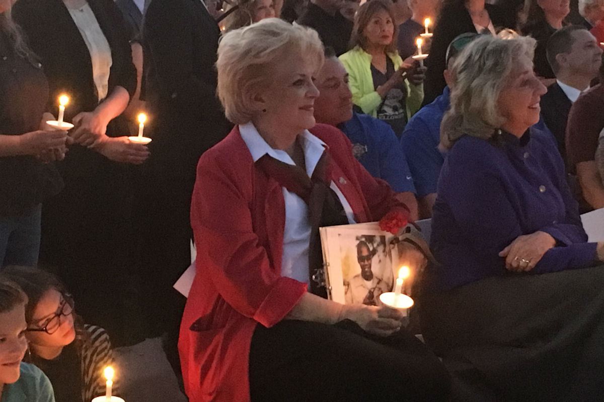 Mayor Carolyn Goodman at a vigil Thursday night.