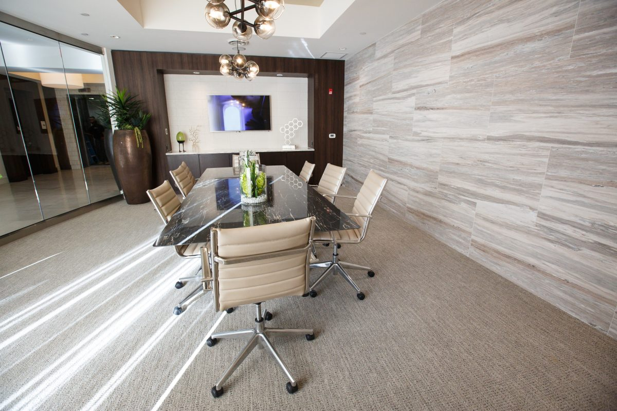 A conference room at Hanover North Broad apartment complex, on North Broad St. The TV mounted on the wall allows for residents to conduct teleconferences.