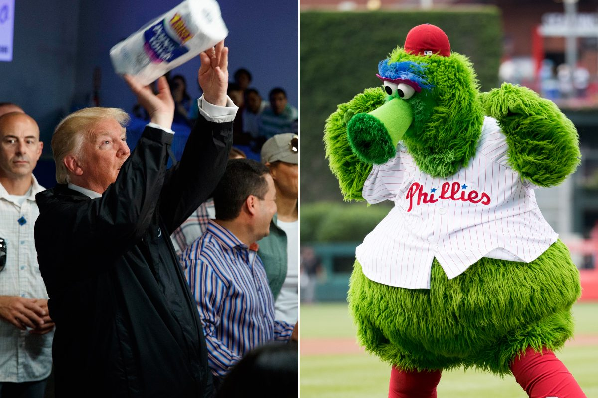 "President Donald Trump, left, tosses paper towels to a group of needy hurricane victims in Puerto Rico. ""Saturday Night Live"" thinks he would make a great mascot, on par even with the Phillie Phanatic, right."