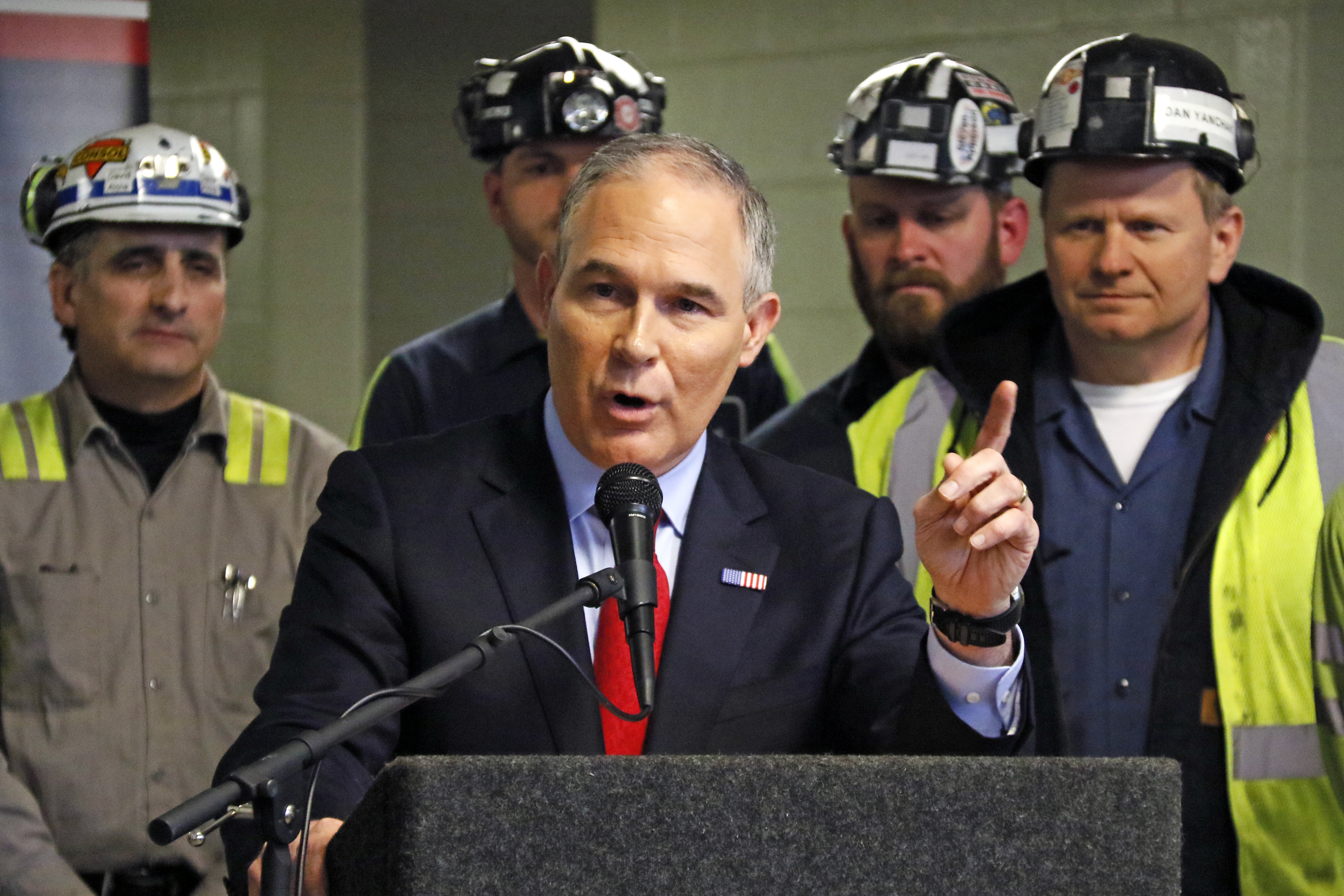 U.S. Environmental Protection Agency Administrator Scott Pruitt speaks to a group of miners during a visit to Consol Pennsylvania Coal Company´s Harvey Mine in Sycamore, Pa., Thursday, April 13, 2017. (AP Photo/Gene J. Puskar)