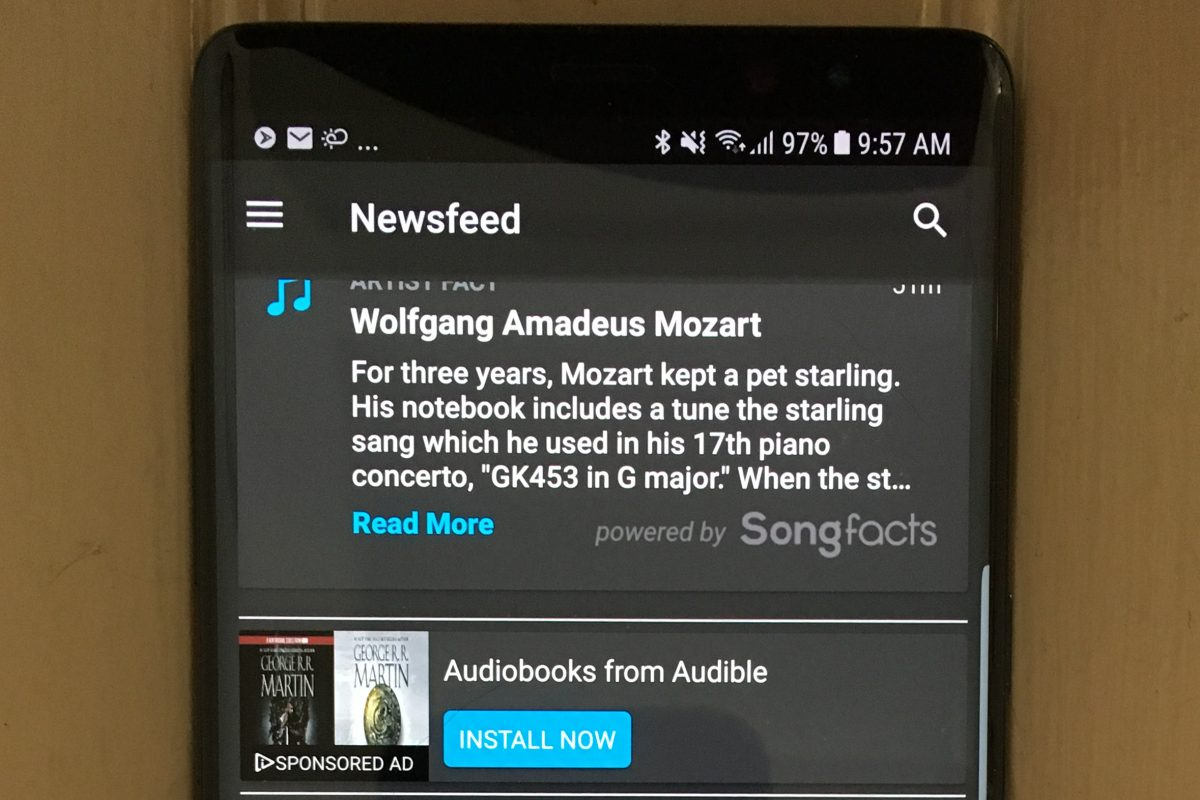 Available on most smartphones (except Apples), the free NextRadio app and on-board FM chip lets users tune stations by type or favorite menus, to garner artist tidbits, order music and Audible book downloads, and receive emergency alerts.