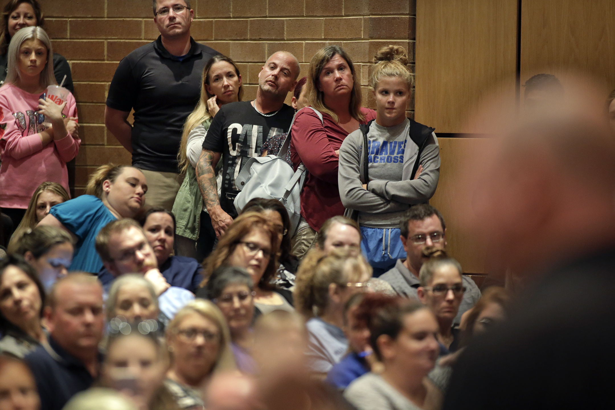 Unhappy faces during an emergency Monroe Twp school board meeting at Williamstown High School theater in Williamstown, NJ on Oct. 6, 2017. ELIZABETH ROBERTSON / Staff Photographer The nearly 6,000 students who attend public schools in Williamstown will have the week off so the Monroe School District can inspect all the schools for mold. Mold was found on ceiling tiles in the Williamstown Middle School on Friday, one day after the Holly Glen Elementary School was closed due to mold found throughout that building. The problem took off from there.