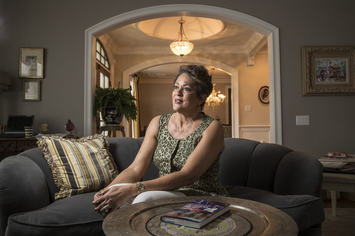 Lisa Thomas-Laury in her home in Haverford.