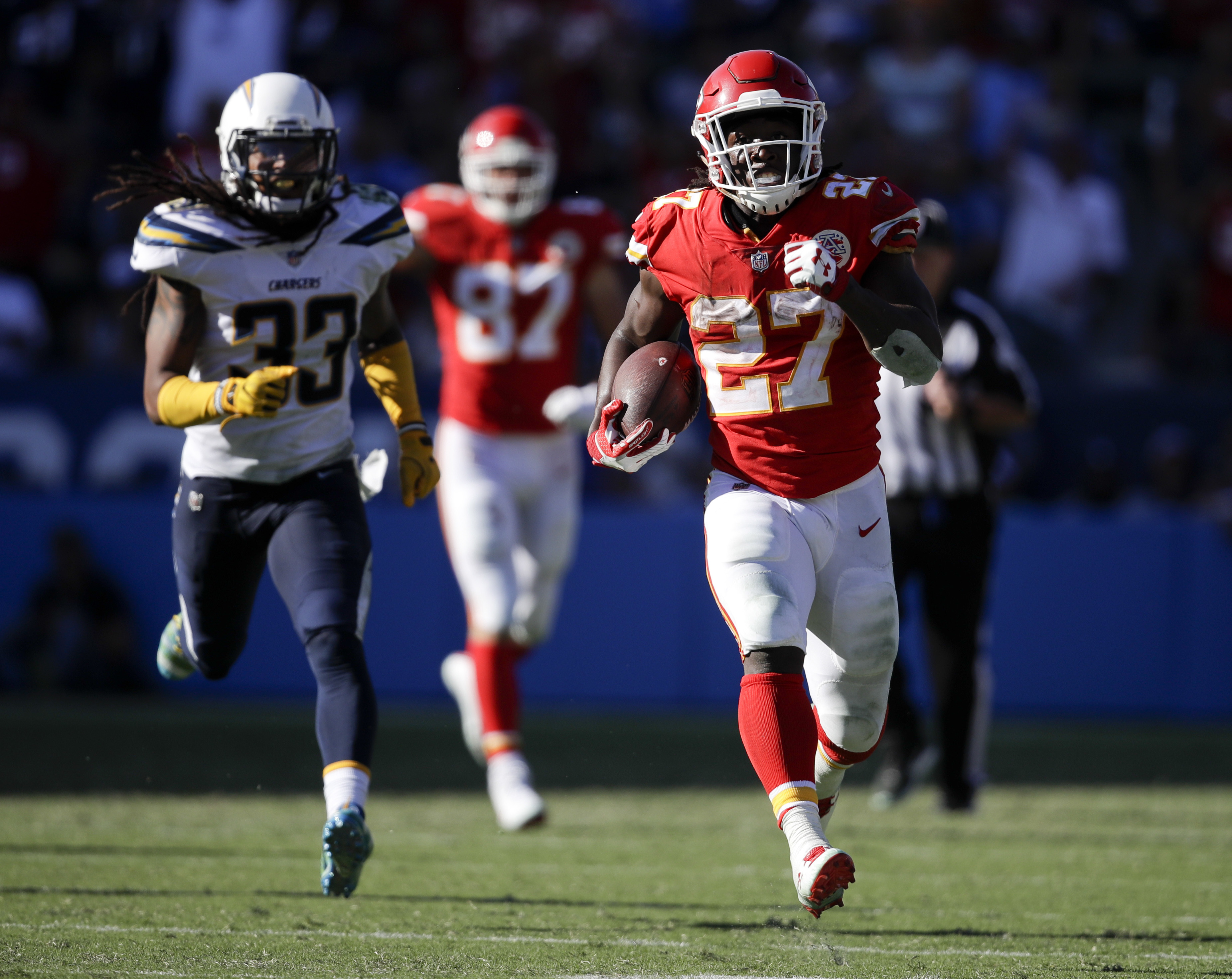 Chiefs running back Kareem Hunt, sprinting in the open field has been a familiar sight for early on this season. (AP Photo/Jae C. Hong)