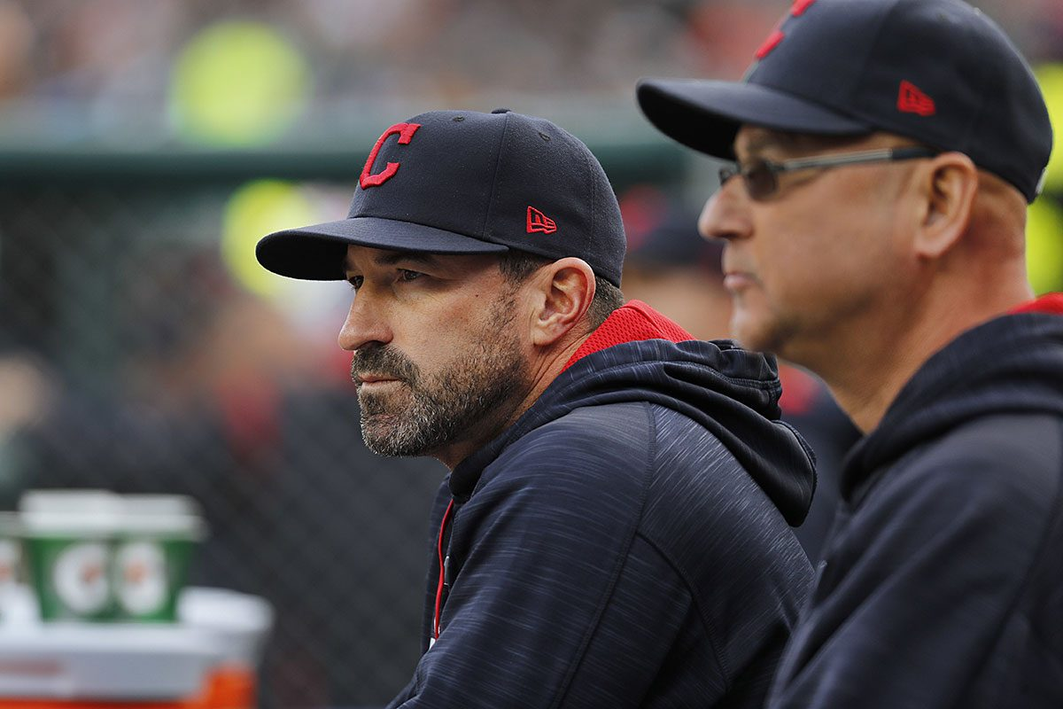 Cleveland Indians pitching coach Mickey Callaway watches with manager Terry Francona against the Detroit Tigers in the first inning of a baseball game in Detroit, Wednesday, May 3, 2017.
