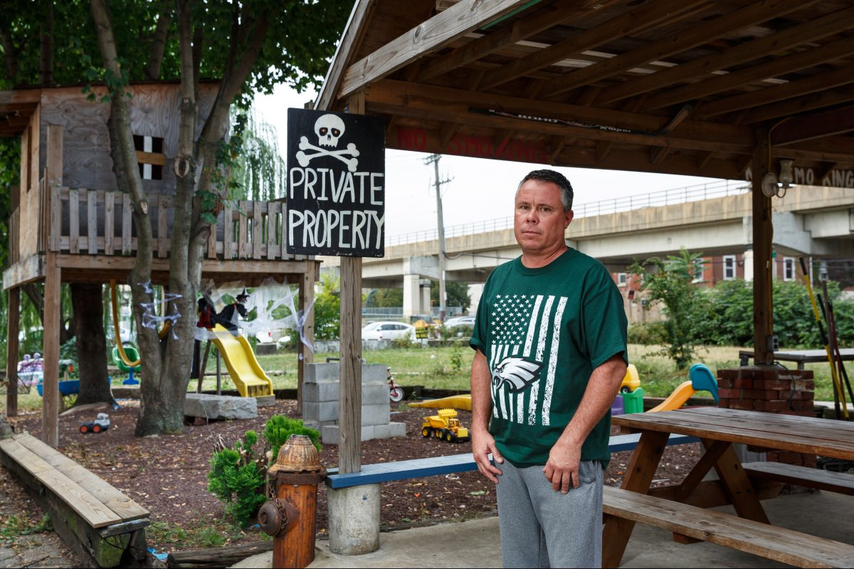 Frank Galdo has turned a vacant lot across the street from his house into his family's playground. He says he's maintained it for 28 years.
