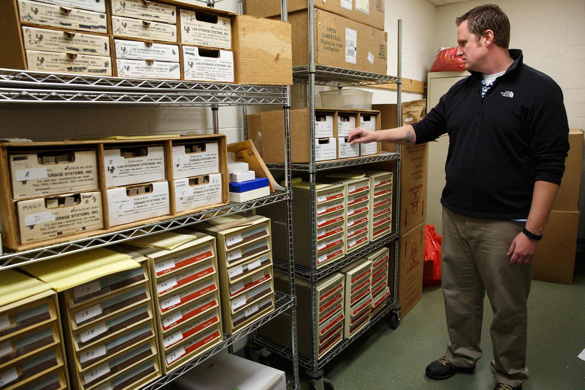 Alexander Balacki, First Deputy at the Coroner´s office, Montgomery County Coroner´s office, Norristown, PA is shown in the storage room that holds Microscopic slides of organ tissue.