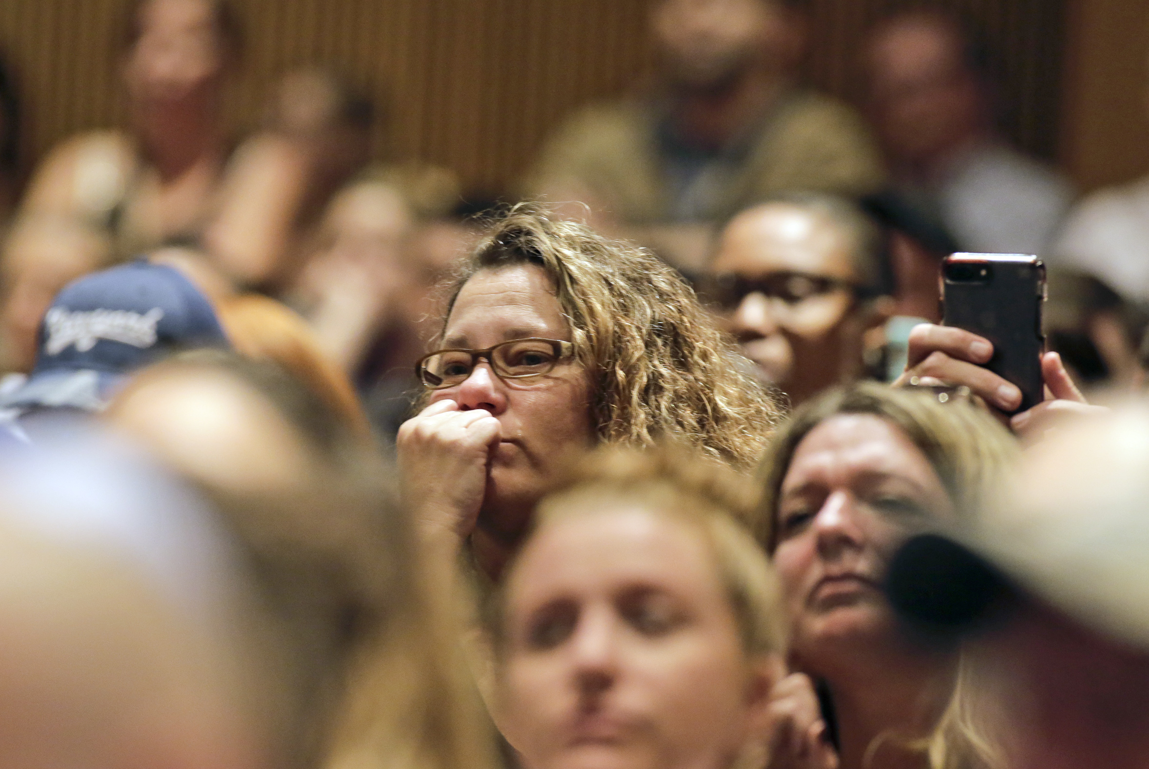 The 1020 seat auditorium was standing room only during an emergency Monroe Twp school board meeting at Williamstown High School theater in Williamstown, NJ on Oct. 6, 2017. ELIZABETH ROBERTSON / Staff Photographer The nearly 6,000 students who attend public schools in Williamstown will have the week off so the Monroe School District can inspect all the schools for mold. Mold was found on ceiling tiles in the Williamstown Middle School on Friday, one day after the Holly Glen Elementary School was closed due to mold found throughout that building. The problem took off from there.