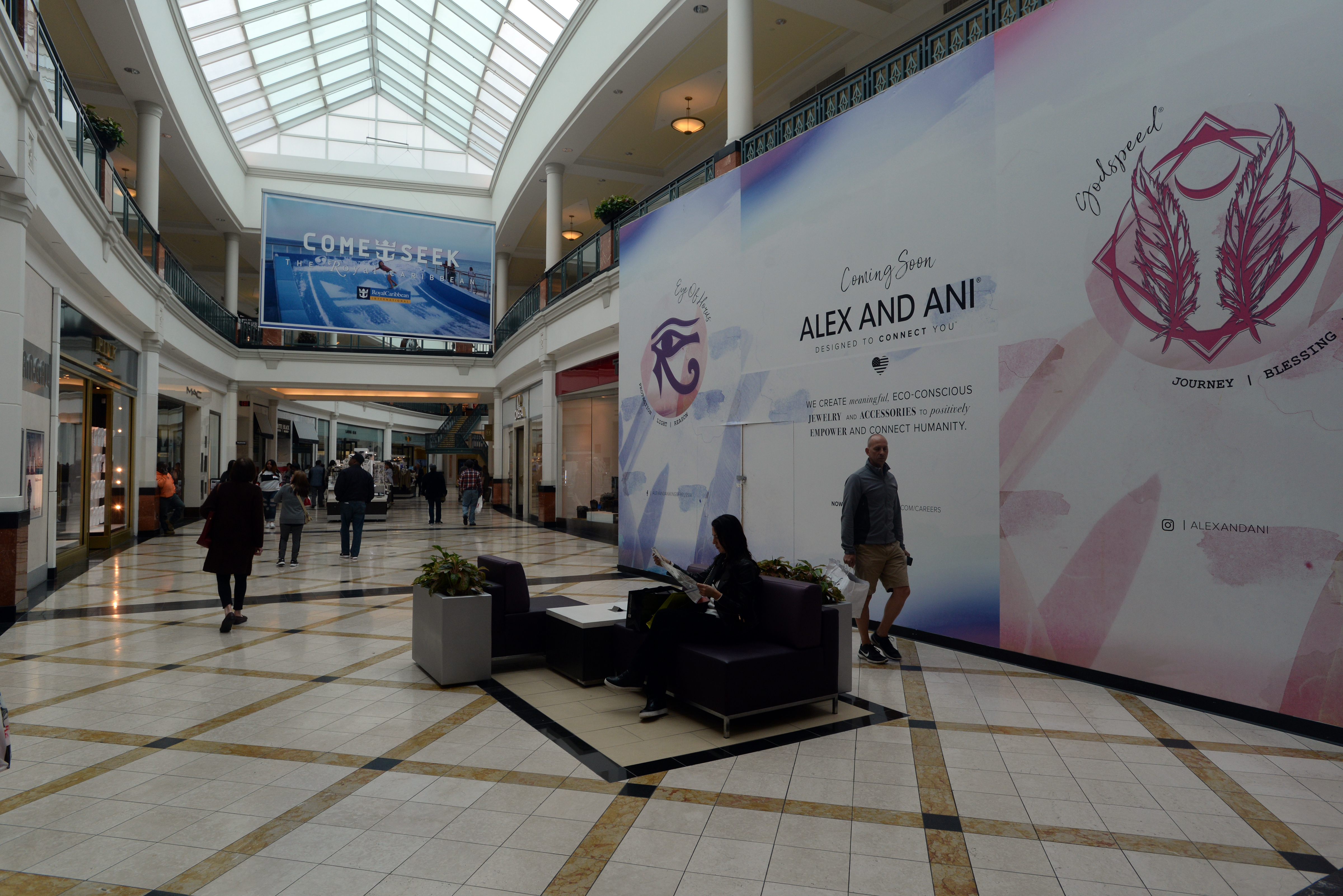 The AlEX AND ANI jewelry store is still under wraps during construction. The eco-friendly jeweler debuts near Lord & Taylor at King of Prussia Mall late next month.
