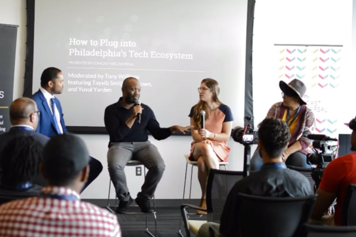 Tayyib Smith, Yuval Yarden (center) and Liz Brown participated in a panel discussion that turned heated at last week's Black & Brown Founders Conference.