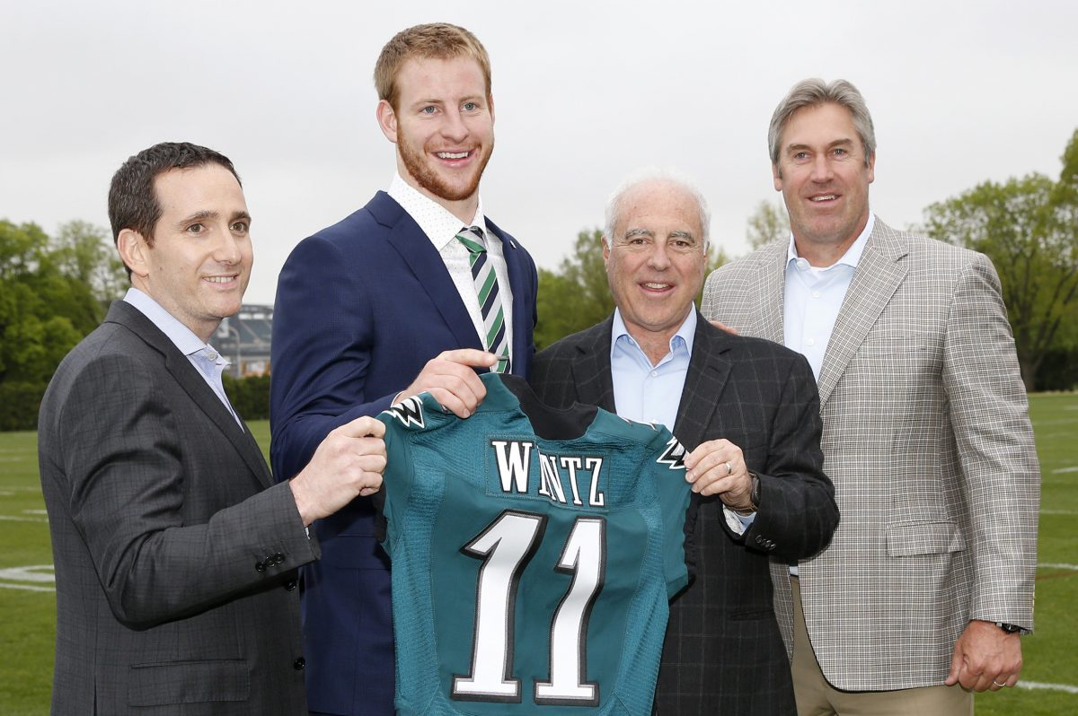 Four of the reasons the Eagles are 5-1, from left: Howie Roseman, Carson Wentz, Jeffrey Lurie and Doug Pederson.