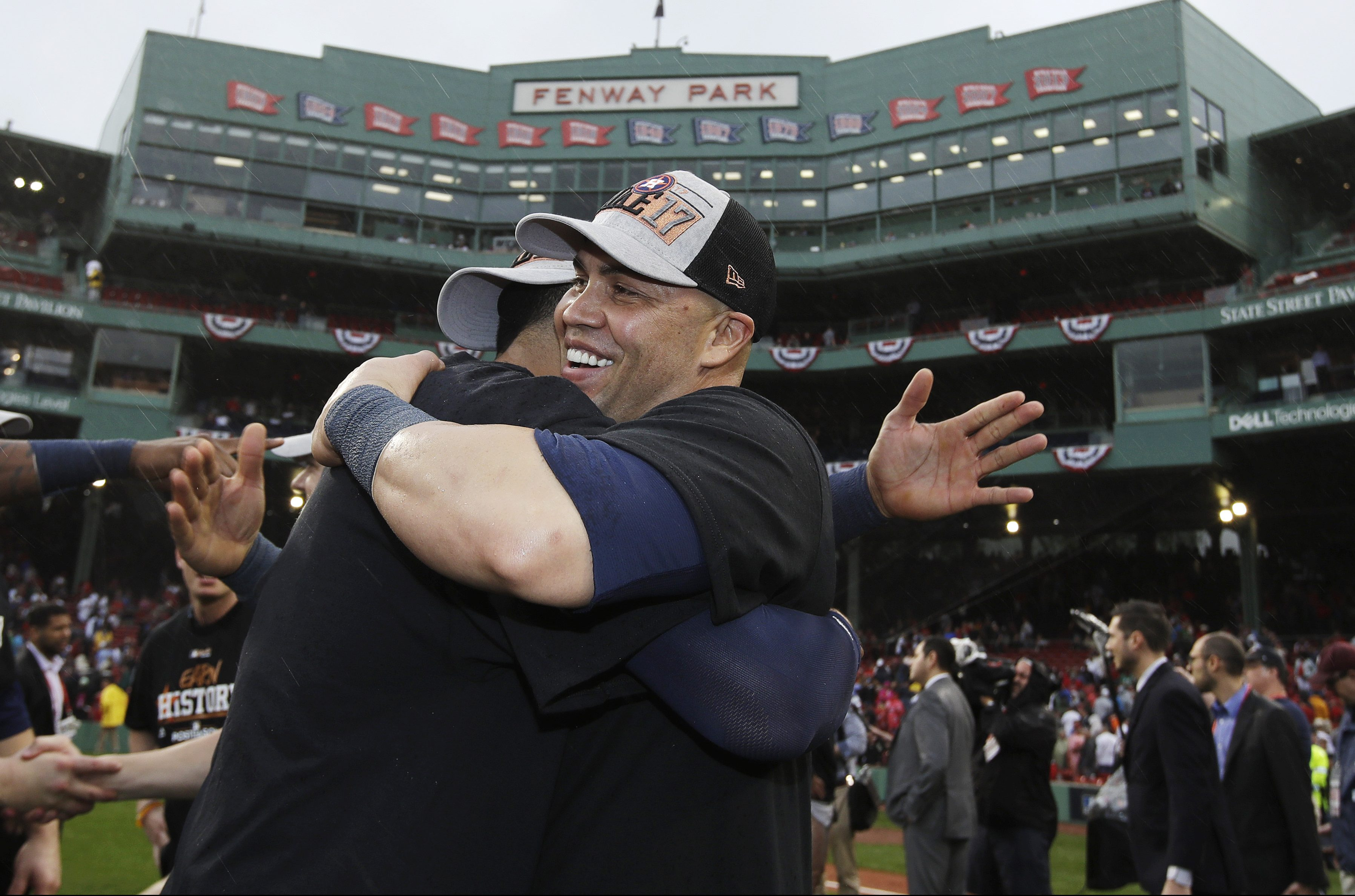 Houston Astros´ Carlos Beltran celebrates on the field after the Astros eliminated the Boston Red Sox with a 5-4 victory in Game 4 of baseball´s American League Division Series, Monday, Oct. 9, 2017, in Boston. (AP Photo/Charles Krupa)