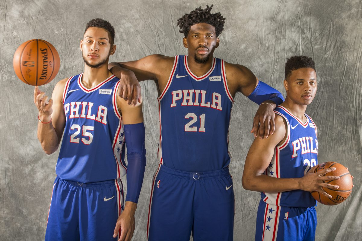 Players (from left) Ben Simmons, Joel Embiid, and Markelle Fultz are the Sixers future — and the future is now.