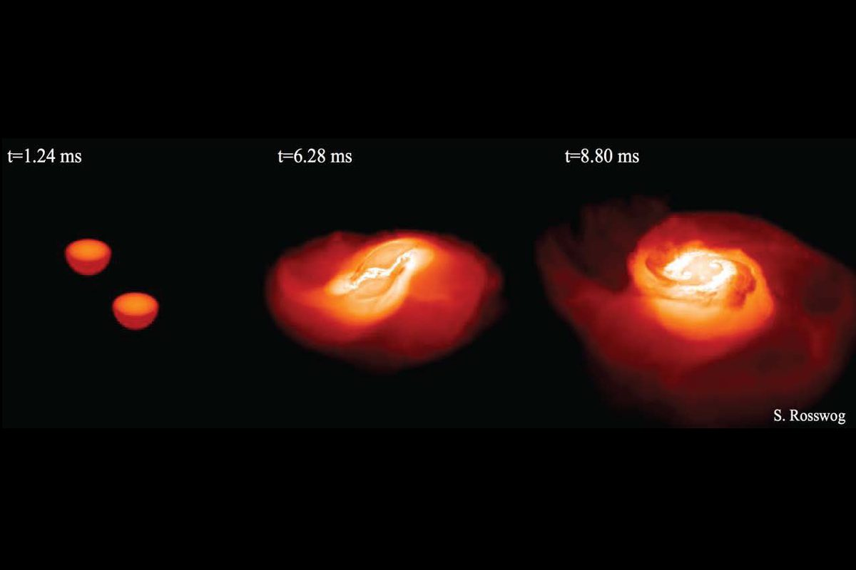 Snapshot of computer simulation of two colliding neutron stars.