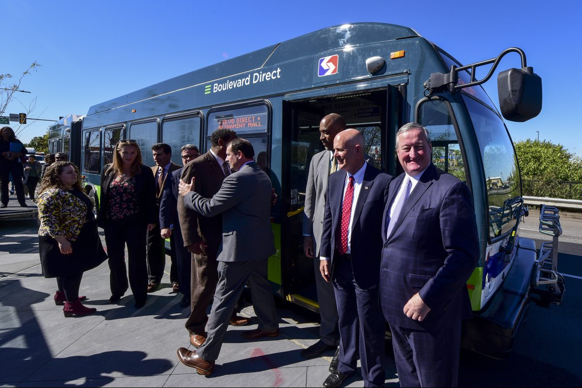 "Mayor Kenney (from left), SEPTA general manager Jeffrey Knueppel, and Mike Carroll, deputy managing director for Philadelphia´sOffice of Transportation and Infrastructure Systems, announce SEPTA's first ""direct bus,"" which starts Sunday on the Roosevelt Boulevard."