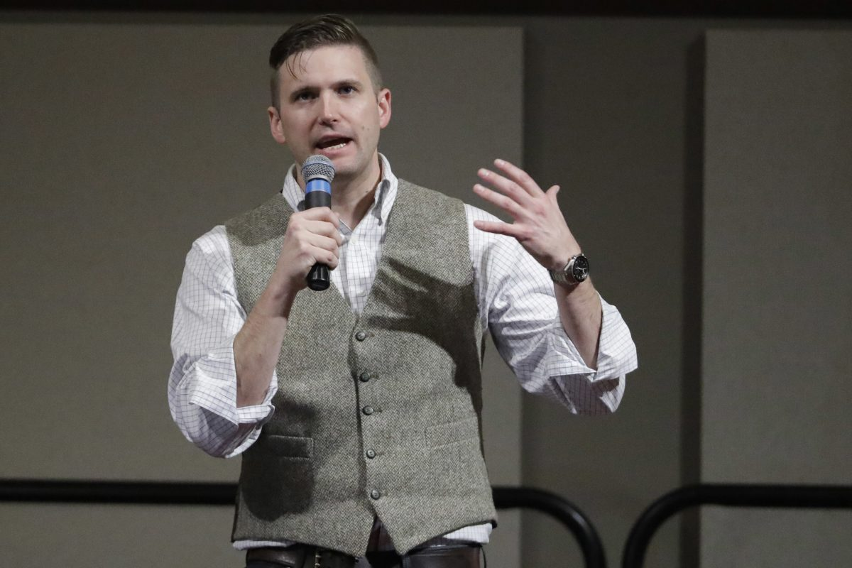 FILE – In this Dec. 6, 2016, file photo, Richard Spencer, who leads a movement that mixes racism, white nationalism and populism, speaks at the Texas A&M University campus in College Station, Texas.